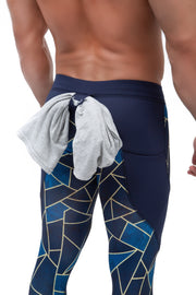 blue geometric triangle meggings with t-shirt loop