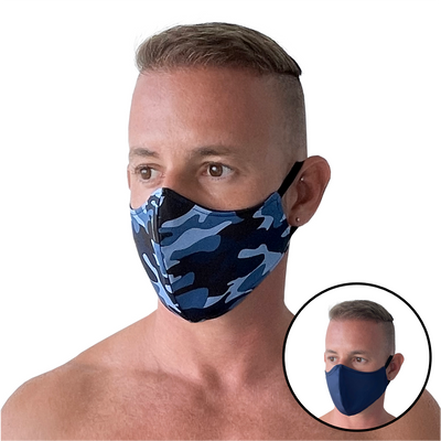 Blue Camo/Navy Reversible Mask