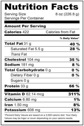 Nutritional Fact Wild Halibut Portions 8 oz (2 pieces)