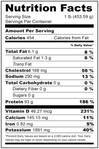 Nutritional Fact Red Snapper 1-2 lbs