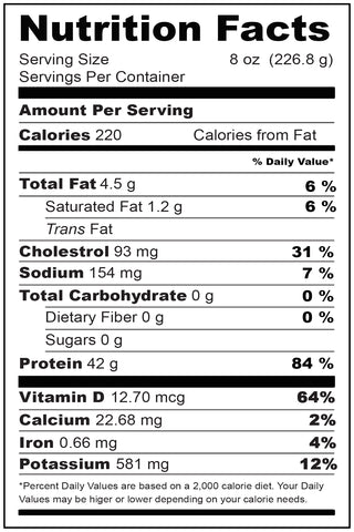 Nutritional Fact Chilean Sea Bass Portion 8 oz