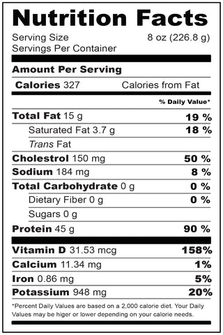 Nutritional Fact Wild Swordfish Steaks Portion 8 oz