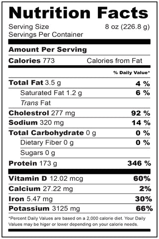 Nutrtitional Fact Wild Tuna Steaks Portion 8 oz