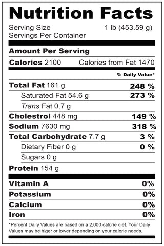 Nutritional Fact Wagyu Beef Franks 1 lb