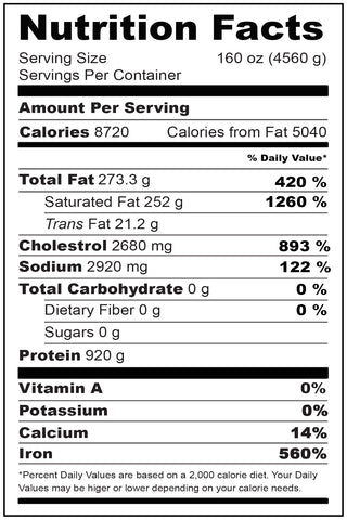 Nutritional Facts Wagyu Brisket 5 lbs