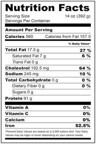 Nutritional Facts Wagyu New York Strip 14 oz