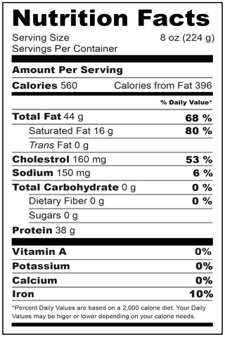 Nutritional Fact Wagyu Smoked Sausage 1 lb