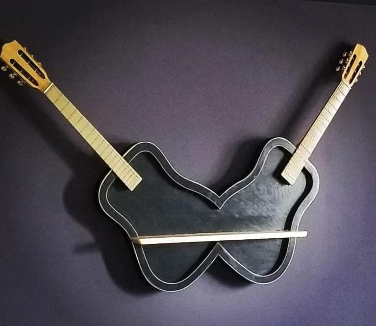 Double Guitar Wall Shelf