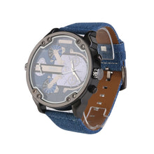 Men's Dial Dual Time Display Quartz Wrist Watch with Cloth Band
