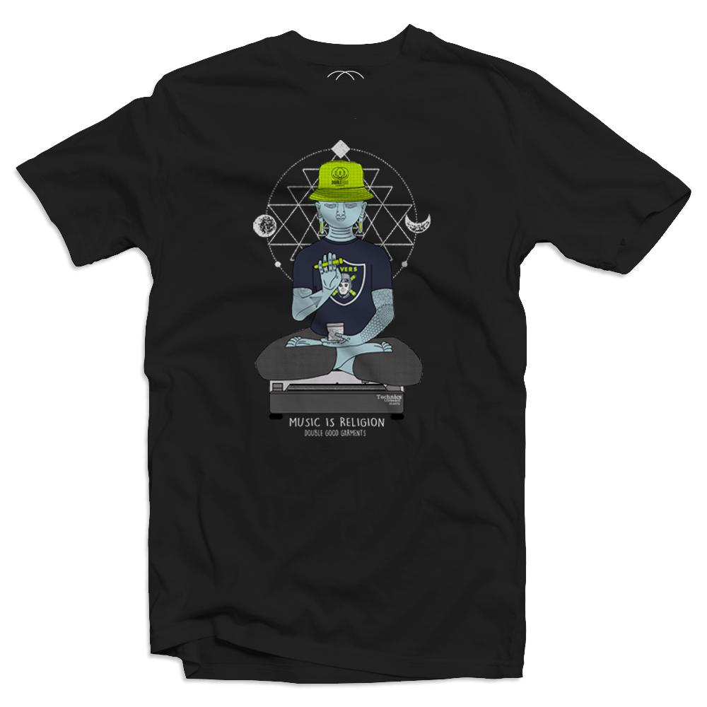 Raving Buddha Men's Black T-Shirt