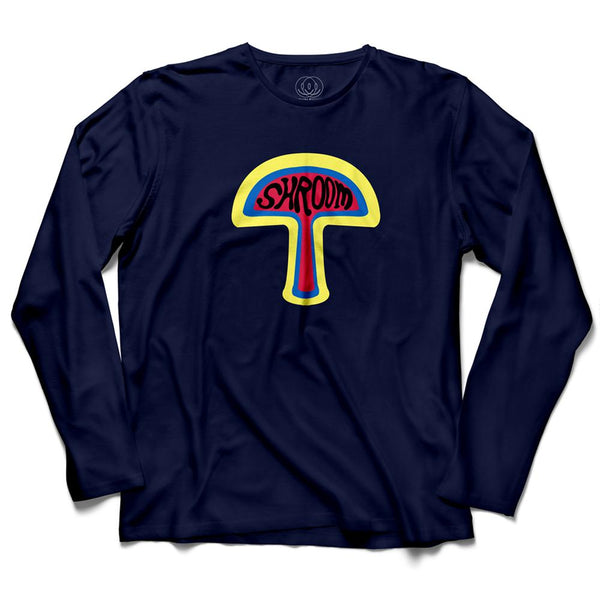 Shroom Rave Music Men's Long Sleeve Navy T-Shirt
