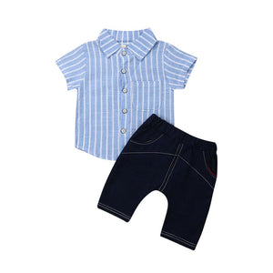 Blue Striped Classy Summer Set