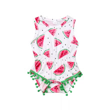 Load image into Gallery viewer, White Tassel Watermelon Romper