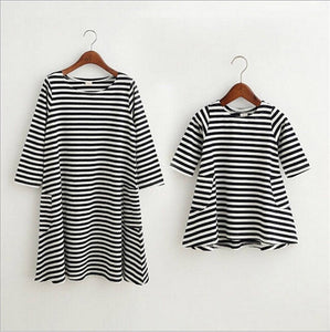 Striped Long Sleeve Dress (mommy & me)