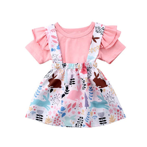Ruffle Pink Bunny Dress Set