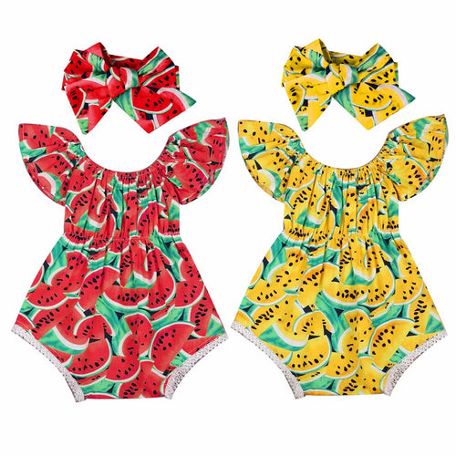 (Newborn 0-24m) Watermelon Romper + Headband
