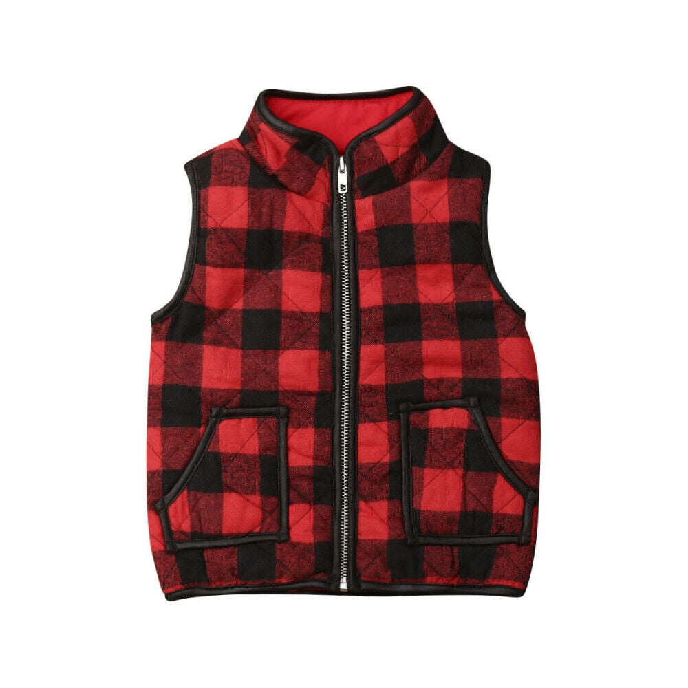 Red Plaid Winter Vest