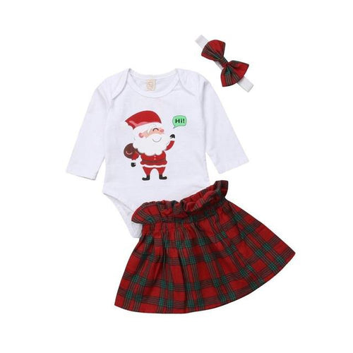 """Hi Santa"" Plaid Onesie Set"