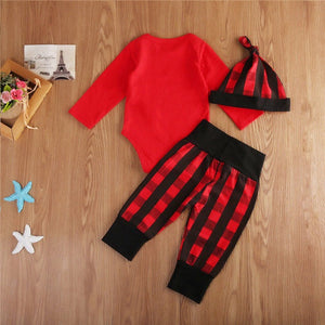 Little Man Red Plaid Onesie Set