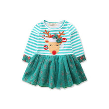 Load image into Gallery viewer, Striped Reindeer Tutu Dress