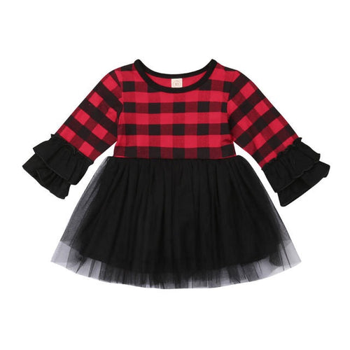 Ruffles Plaid Dress