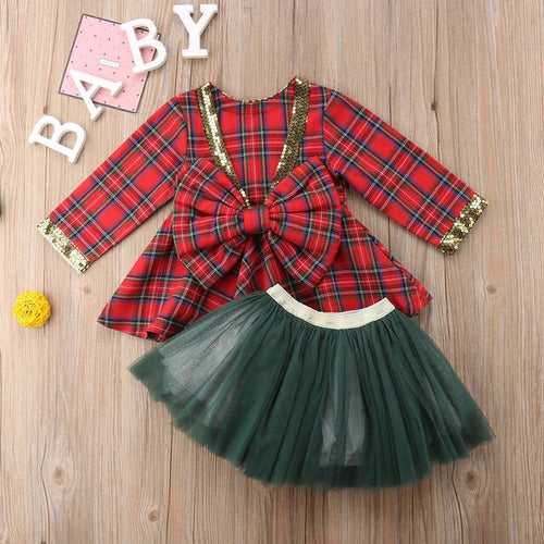 Tutu and Plaid Dress Set