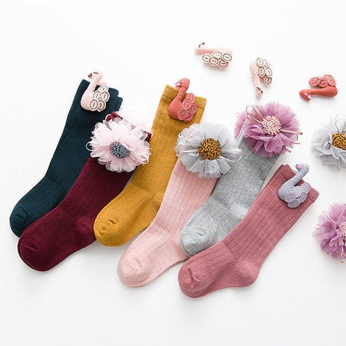 Flower and Swan Socks 1-8Y