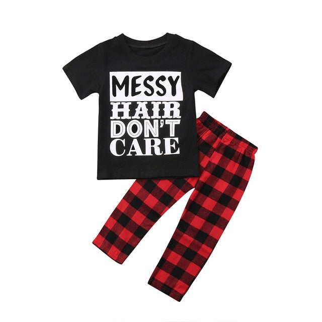 Messy Hair Plaid Set