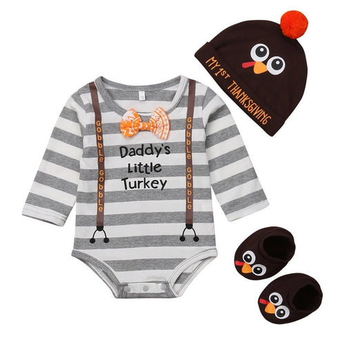 Daddy's Little Turkey Romper Set