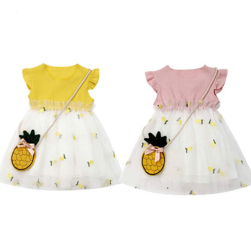 Pineapple Summer Dress with Purse