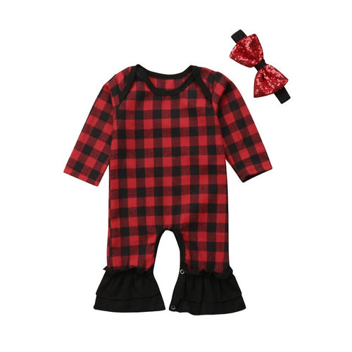 Red Plaid Flared Romper Set