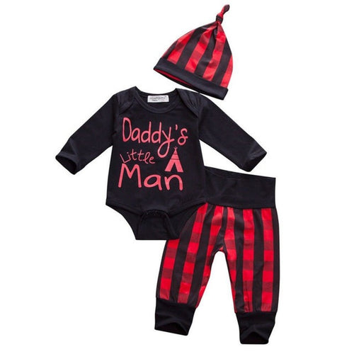 Daddy's Little Man Onesie Plaid Set