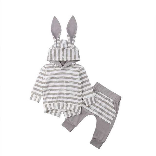Gray Striped Bunny Winter Set