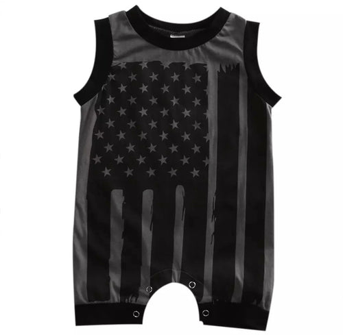 USA Grayscale Flag Romper
