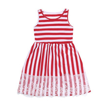 Load image into Gallery viewer, Red Lace Striped Dress (mommy & me)