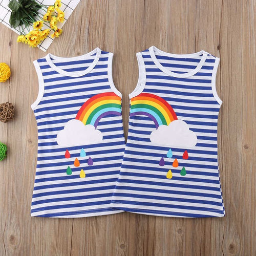 Full Rainbow Striped Dress (Matching)