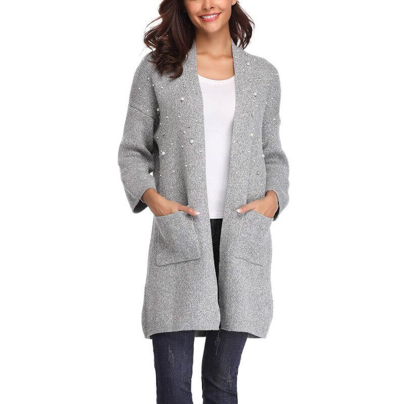 timeless design f4527 8c211 ITDIW Damen Dicke Strickjacke mit Perlen Winter Longstrickjacke Grau  Cardigan Elegant Warmer Strickmantel-IWCA02