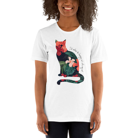 I'd Rather Be Hanging Out With My Cat Hibiscus Tee