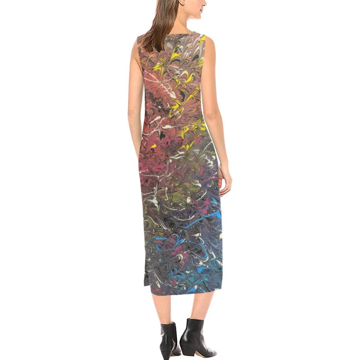 Mood Splash - Sleeveless Open Fork Dress - Fiercely Fem