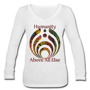 Humanity - Women's Long Sleeve  V-Neck Flowy Tee - white
