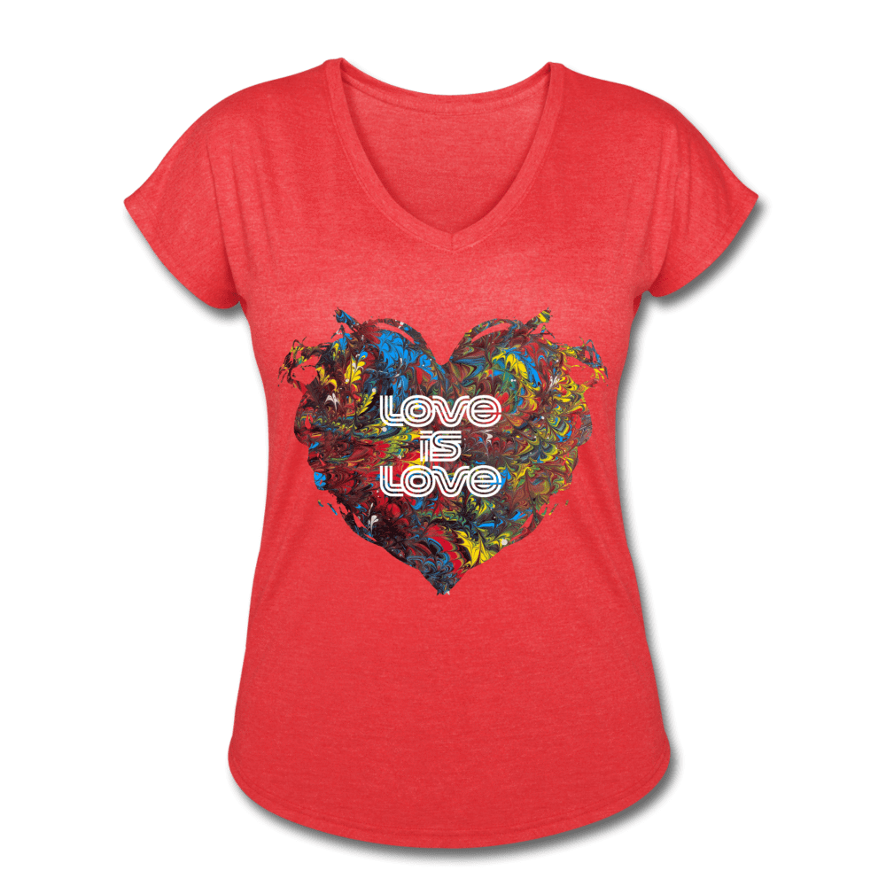 Love is Love - Women's Tri-Blend V-Neck T-Shirt - Fiercely Fem