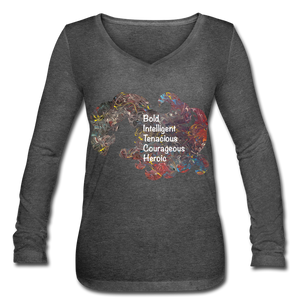B.I.T.C.H. - Women's Long Sleeve  V-Neck Flowy Tee - deep heather