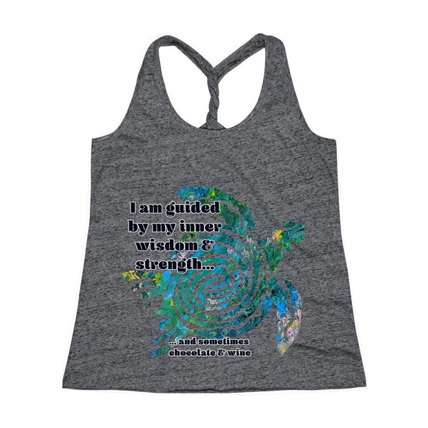 Wisdom & Strength - Women's Cosmic Twist Back Tank Top - Fiercely Fem