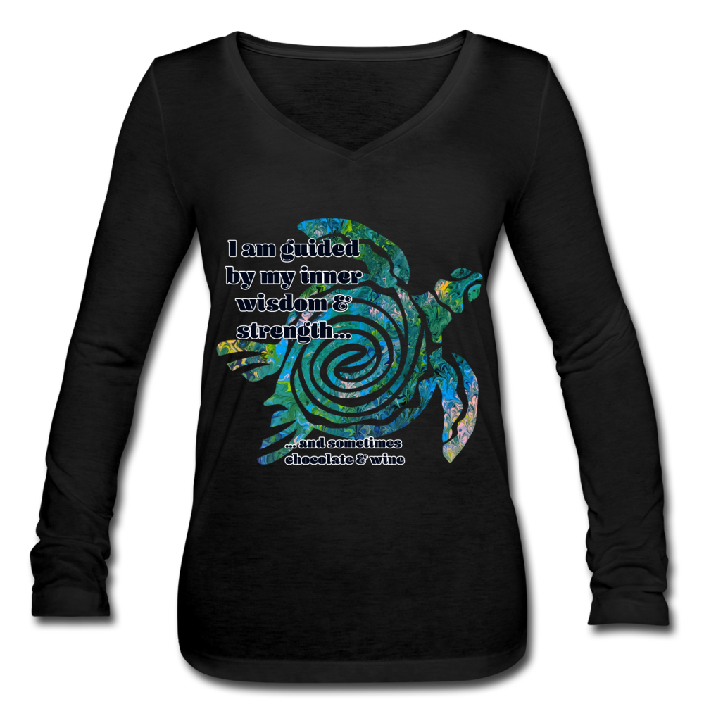 Wisdom & Strength - Women's Long Sleeve  V-Neck Flowy Tee - black