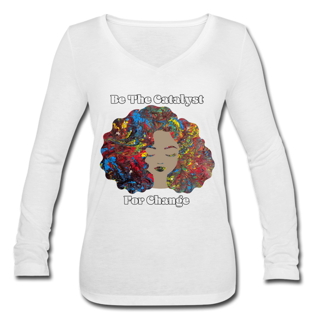 Catalyst - Women's Long Sleeve  V-Neck Flowy Tee - white