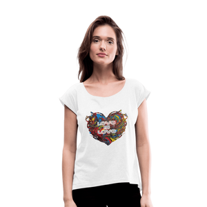 Love is Love - Women's Roll Cuff T-Shirt - Fiercely Fem