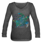 Wisdom & Strength - Women's Long Sleeve  V-Neck Flowy Tee - deep heather