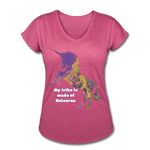 Tribe - Women's Tri-Blend V-Neck T-Shirt - Fiercely Fem