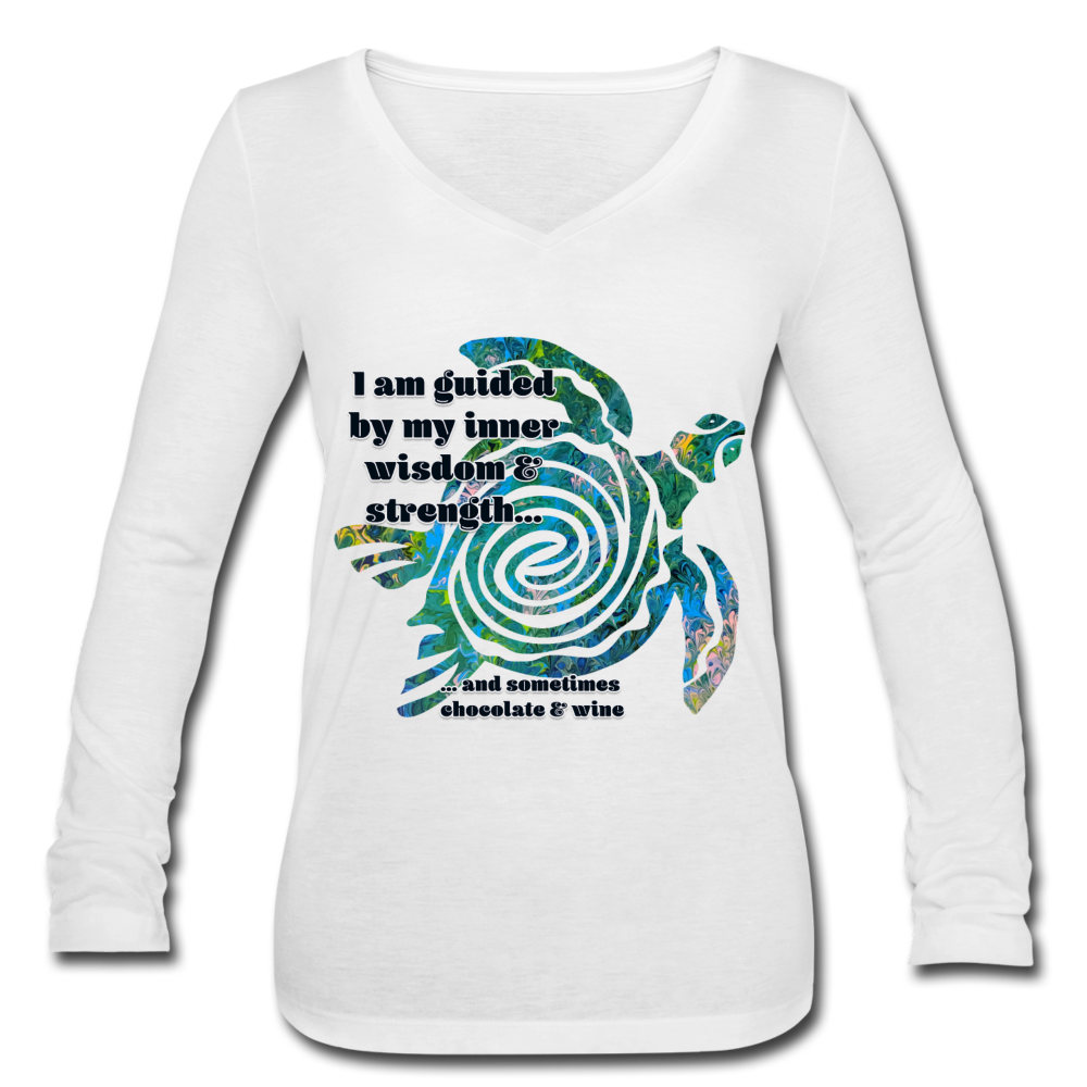 Wisdom & Strength - Women's Long Sleeve  V-Neck Flowy Tee - white
