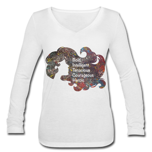 B.I.T.C.H. - Women's Long Sleeve  V-Neck Flowy Tee - white